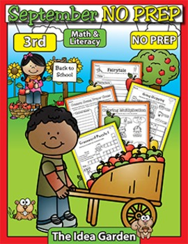 September NO PREP Back To School - Math & Literacy (Third)