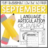 September NO PREP: Language & Articulation