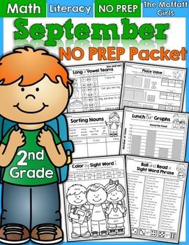 September NO PREP Math and Literacy (2nd Grade)