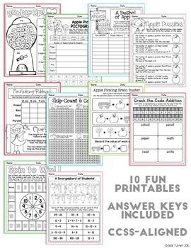 September NO PREP Printables: Math and Literacy BUNDLE