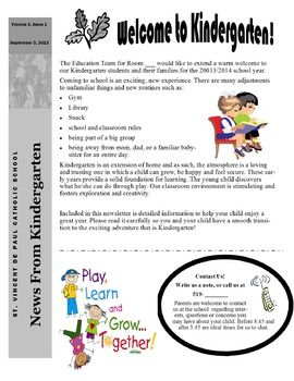 September Newsletter - Parent Intro to Class and routines