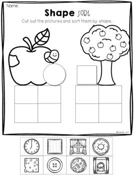 September No Prep Math and Literacy Worksheets for Kindergarten