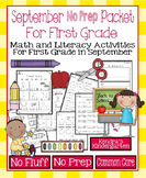 September No Prep Math and Literacy Packet for First Grade