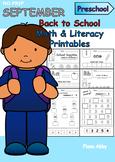 September No Prep Printables for Preschool
