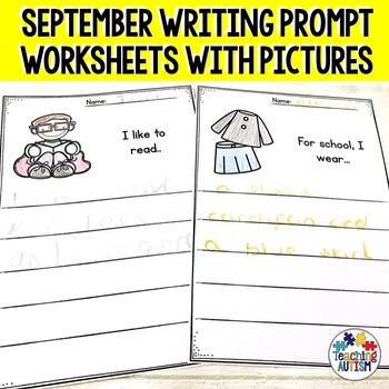 September No Prep Writing Prompt Worksheets