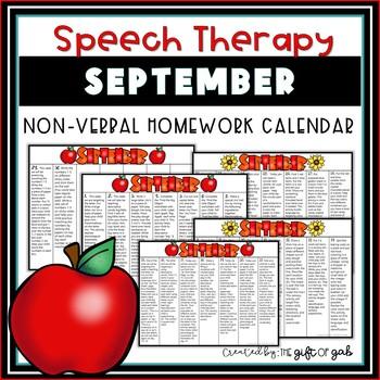 September Non-Verbal Homework Calendar
