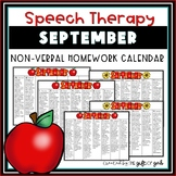 September Non-Verbal Homework Calendar