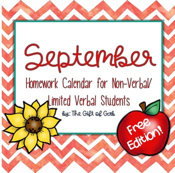 September Non-Verbal Homework Calendar FREEBIE!!