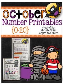 October Number Printables (for Kindergarten)
