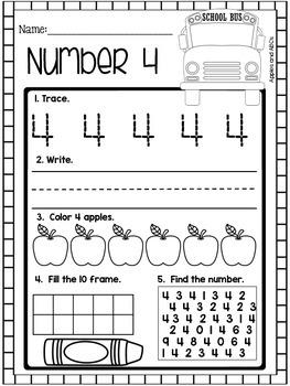 September Number Printables (for Kindergarten)