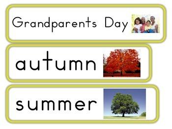 September, October & November Word Wall Cards
