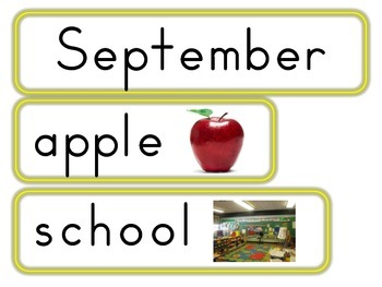 September, October & November Word Wall Cards