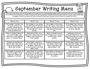 September/October Writing Menu FREEBIE!