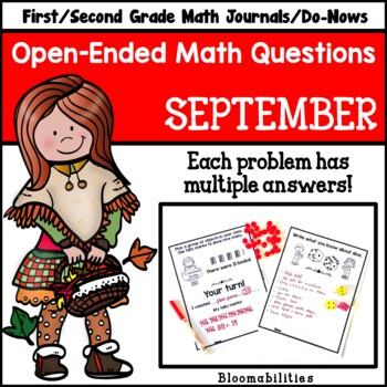 September Open-Ended Math Questions for Journals or Do-Nows (First/Second Grade)