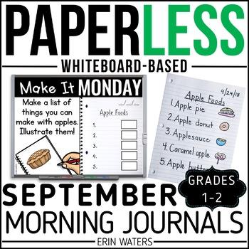 September Paperless 1st & 2nd Grade Morning Work {Whiteboard-based & EDITABLE}