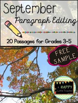 September Paragraph Editing Freebie for Grades 3-5