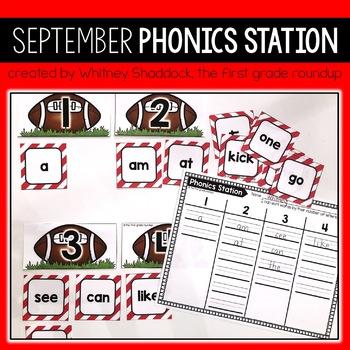September Phonics Centers for Kindergarten