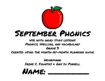 September Phonics/Word Study Heinemann (Fountas and Pinnell) Grade 3