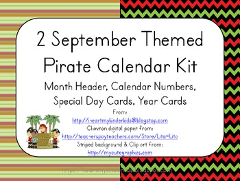 September Pirate Themed Calendar Kits (header, numbers, specials day, years)