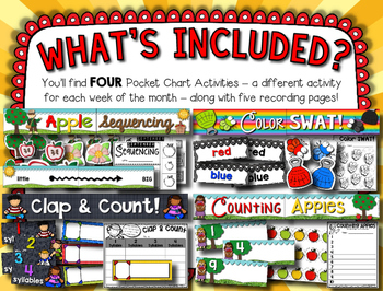 September Pocket Charts --- Four Math and Literacy Pocket Charts for September