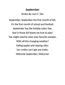 photograph relating to 30 Days Has September Poem Printable named September Poems Worksheets Instruction Components TpT