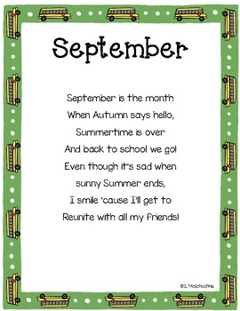 picture about 30 Days Has September Poem Printable named September Poems Worksheets Education Materials TpT