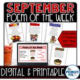 September Poem and Book Set Distance Learning