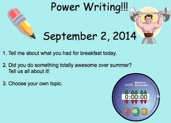 September Power Writing Prompts on SmartNotebook