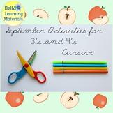 September Preschool Activities Cursive   - Distance Learning