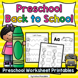 Back to School Preschool Morning Work