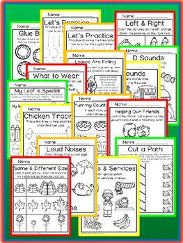 September Preschool Packet NO PREP Math Literacy Social Studies Science