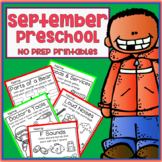 September Fall Back to School Preschool Printable Packet NO PREP - All Subjects