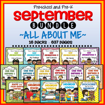 All About Me September Themes Curriculum for Preschool and Pre-K