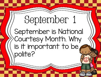 September Primary Daily Journal Prompts