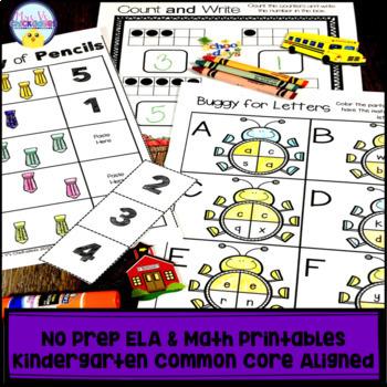 Kindergarten No Prep Phonics, Literacy & Math Work for September