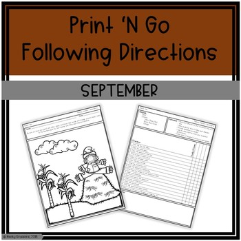 September Print 'N Go Following Directions Packet