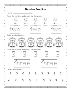 September Print and Go: Math and Literacy Activities for Kindergarten