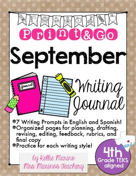 September Print and Go Writing Journal (English and Spanish)