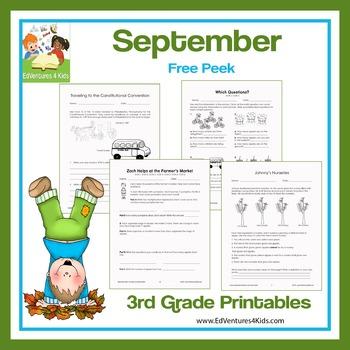 September Printables for 3rd Grade: A Free Peek