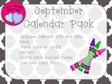 September Quatrefoil Calendar Set