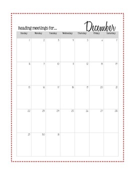 Reading Calenders for 2013-2014
