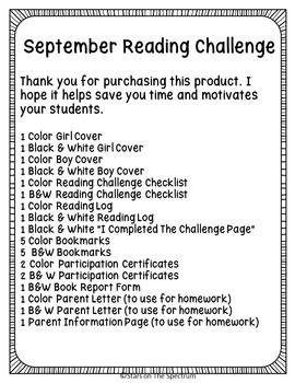 September Reading Challenge * Back to School Reading