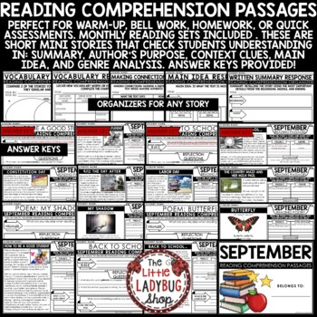 September Reading Comprehension Passages and Questions 4th Grade, 3rd Grade 5th