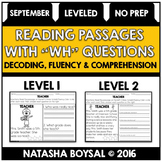 "September Reading Comprehension Passages with ""WH"" Questions (Leveled)"