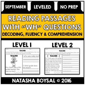 "September Reading Comprehension Passages with ""WH"" Questio"