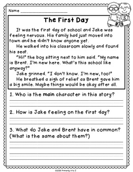 September Reading Comprehension & Written Response FREEBIE!
