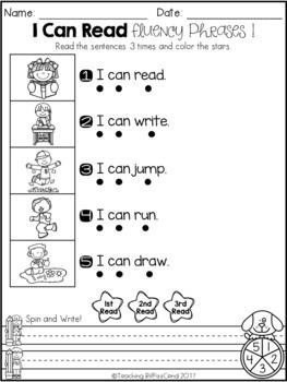 September Reading Fluency Phrases