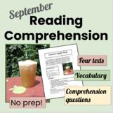 September Reading Comprehension