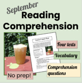 September Reading Homework Packets