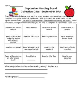 September Reading Incentive Board